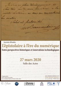 [Report en octobre 2020] L'épistolaire à l'ère du numérique – Entre perspectives historiques et innovations technologiques