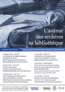 L'auteur, ses archives, sa bibliothèque (2021)