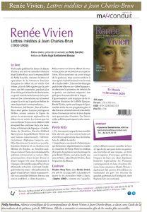 Nelly Sanchez, Laurence Santantonios, «Lettres inédites à Jean Charles-Brun, de Renée Vivien» (Editions du Mauconduit, 2020).
