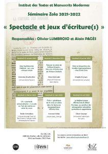 Séminaire Zola / 2021-2022 « Spectacle et jeux d'écriture(s) »