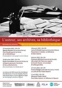 L'auteur, ses archives, sa bibliothèque /2021-2022